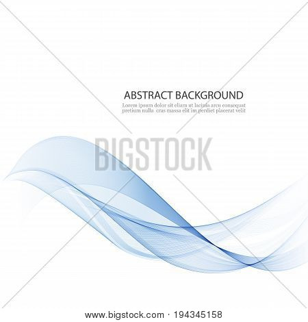 Transparent blue wave.Abstract background.The smooth lines in the form of waves of smoke.
