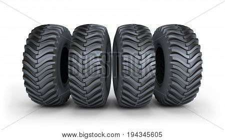 Four large black tires with a powerful tread. 3d image. White background.