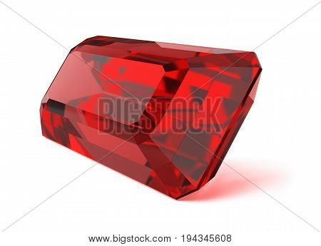 Ruby red precious stone. 3d image. White background.