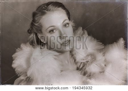 Old Sepia Sensual Glamour Portrait Of Young Woman Wearing Feather Boa.