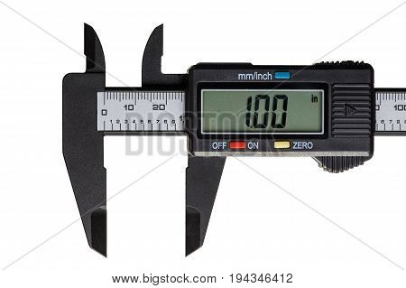 Electronic caliper open on a one inch on the scale isolated on a white background