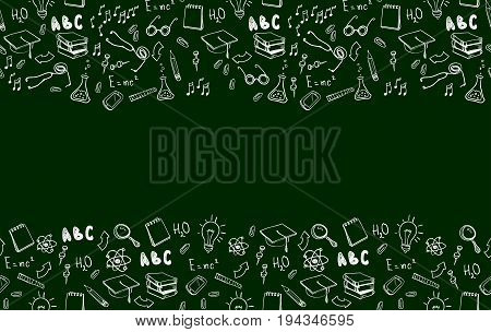 Horizontal seamless border with school elements. Welcome back to school with modern thin line icons school supplies. Super sale doodles. Vector illustration stock vector.