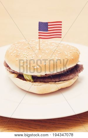 Grilled hamburger in plate with American flag on wooden surface