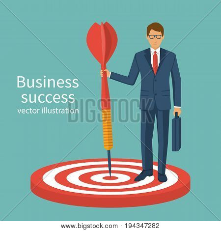 Successful businessman holding arrow in hand, achievement goal. Vector illustration flat design. Accuracy reach aim. Finance leader. Aspirational people.  Mission ambitions. Isolated on background.