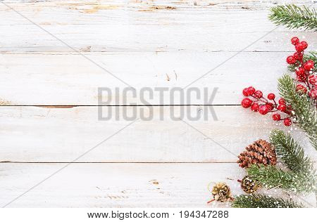 Christmas background - Christmas decorating elements and ornament rustic on white wood table with snowflake. Creative Flat layout and top view composition with border and copy space design.