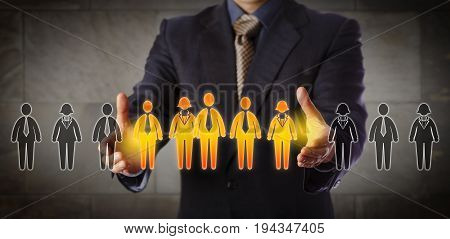Blue chip recruitment manager selecting a group of five employees in a lineup of worker icons. Business concept for team building customer segmentation and management succession. Wide composition.