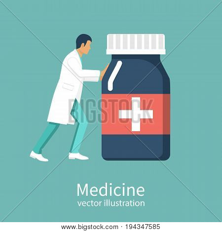 Doctor carries bottle of medications. Pills to patient. Vector illustration flat design. Isolated on background. Medicine background. Doctor of first aid giving medicine.