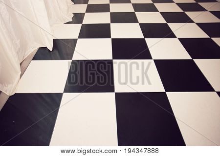 Close-up view of chequered floor