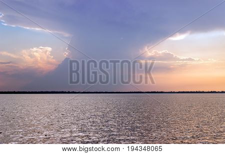 Beautiful evening sky over the estuary before sunset