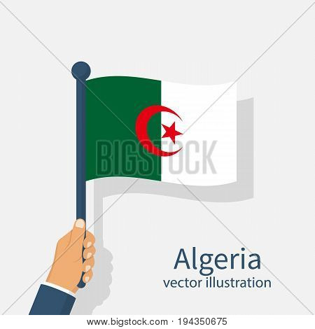 Happy Independence Day Algeria 5 th Jule. Patriot man holds a national flag in his hands, swinging in wind. Vector illustration flat design. Isolated on white background.