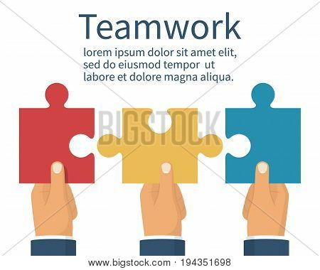 Teamwork concept. Three businessman holds puzzles in hand. Business metaphor abstract background. Pieces together partnership. Vector illustration flat style. Working together cooperation, combining.