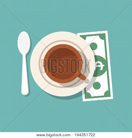 Tip on restaurant table. Money for services. Gratuity icon concept. Cup of coffee, spoon, dollar, plate saucer. Thanks to waiter. Tipping welcome template. Vector flat design. Isolated on background.