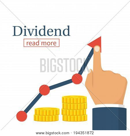 Dividend concept. Profit Stock Market. Man hold in hand business chart. Improve growth graph. Vector illustration flat design. Financial diagram. Profit growth, investment concept. Save up money.