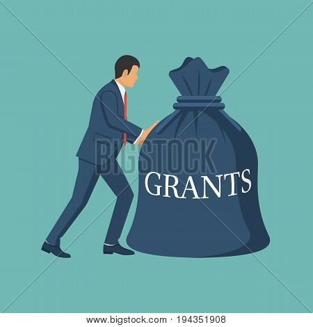 Grant funding, business concept. Vector illustration flat design. Isolated on background. Businessman carry bag of money in hand for financial support on training, treatment. Financing.