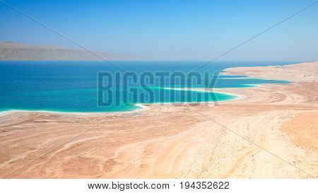 Dead Sea salt lake surface shores and beaches are 430 metres below sea level Earth's lowest elevation on land.