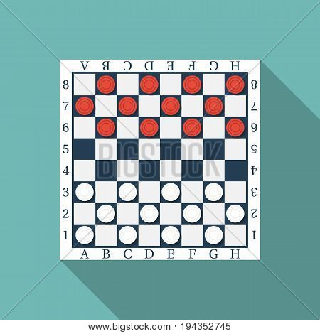 Board with checkers. Classic checkers flat style design. Vector illustration. Isolated on background. Checkered table. Template for applications. Icon with long shadow.