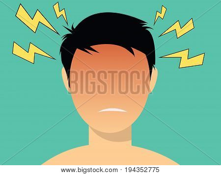 headache illustration men with red head vector
