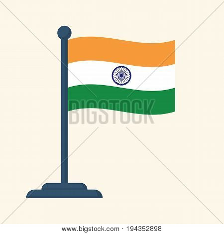 Flag of India isolated on white background. Template for the design of national celebrations and events. Pride of  country is symbol of independence and freedom. Three-color flag orange white green.