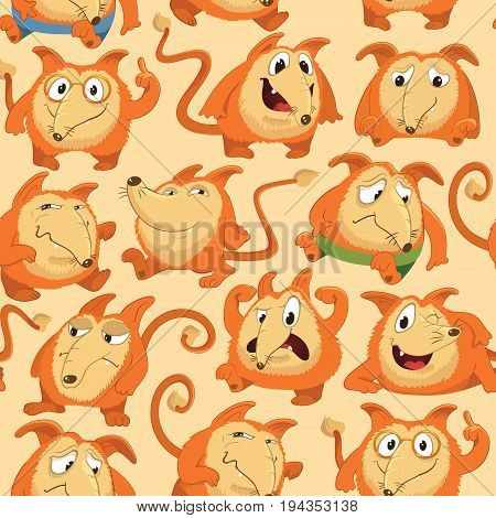 Seamless pattern with funny fox expressing various emotions in different poses. Happy, angry, smart, sad, cunning cartoon character against orange background. Vector illustration for wrapping paper