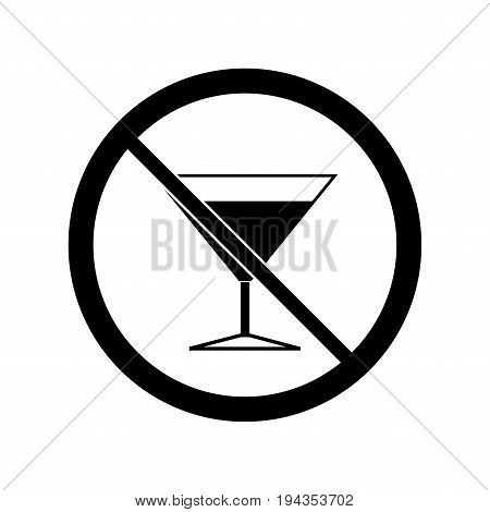 No alcohol drinks icon. Silhouette black wineglass in black circle. Sign on white background. Label notice no do wine. Symbol forbidden beverage. Mark warning. Flat vector image. Vector illustration