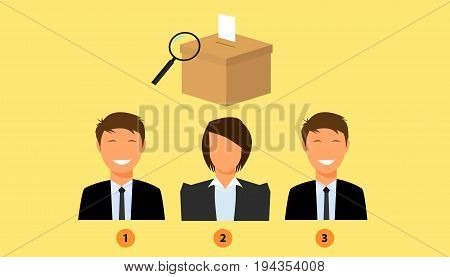 voting candidate with election box as background vector