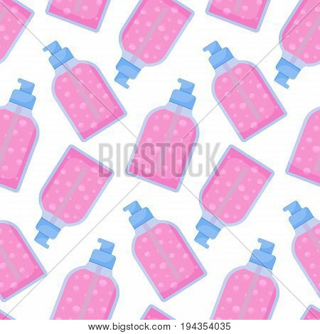 Dispenser bottle vector seamless pattern Flat design of medicine cosmetology and healthcare wallpaper on the white background cute vector illustration
