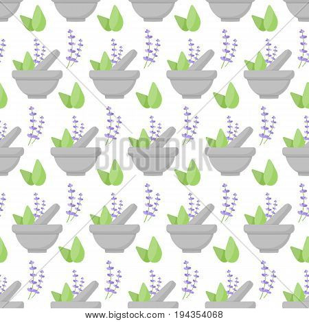 Mortar herbs vector seamless pattern Flat design of aromatherapy cooking or ayurveda wallpaper on the whtie background cute vector illustration