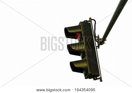 Traffic light with red light on isolated on white background. Side view. Traffic light.