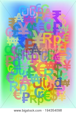Vector illustration - Color background consisting of signs of world currencies (G-20 or Group of Twenty)