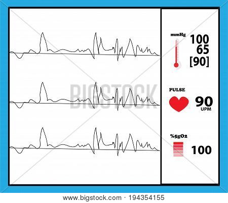 health machine monitor detector vector graphic illustration