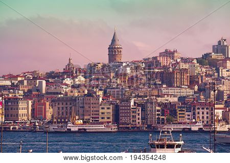 ISTANBUL TURKEY - MAY 2 2017: Istanbul cityscape in Turkey with Galata Tower 14th-century city landmark in the middle