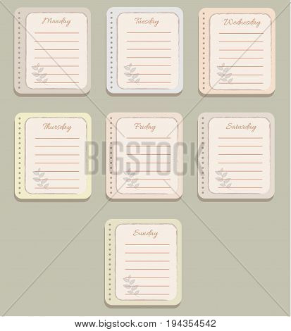 The sheets of the planner. Cute red lines. Decorative translucent brown twigs. Diary.To Do List. The names of the days of the week. The Style Of Provence. Gentle colors. Vector illustration.