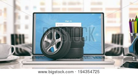 Car Tires And Rims On A Laptop - Office Background. 3D Illustration
