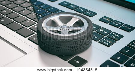 Car Tire And Rim On A Computer Keyboard. 3D Illustration