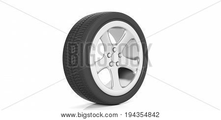 Car Tire And Rim On White Background. 3D Illustration