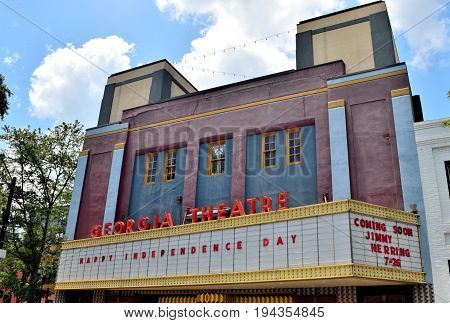 ATHENS, GEORGIA, USA - JULY 5, 2017: The Georgia Theatre served as a venue for many performers from Athens and beyond. Famous acts such as Rem and the B'52S performed there in the late 1970's. Police also played there in the late 70's.