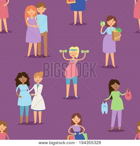 Pregnancy motherhood girl pregnant woman character lifeseamless pattern background vector illustration. Mother beautiful abdomen expectant parenthood.