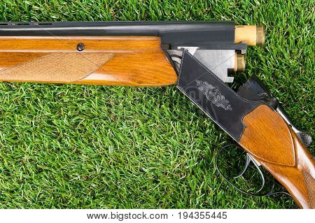 hunting gun with a cartridge in the trunk lies on the green grass