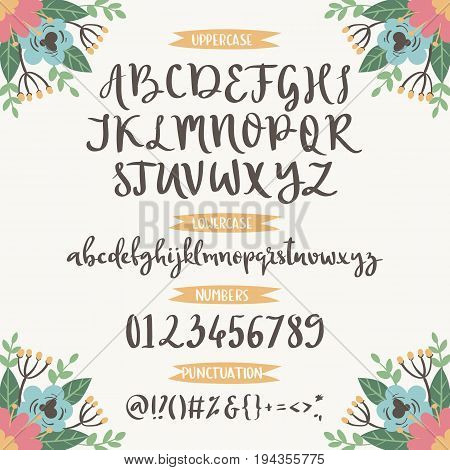 Calligraphic vector font with floral nature numbers ampersand and symbols flower hand drawn alphabet lettering. Creative floral graffiti handwritten type abc typography vintage script