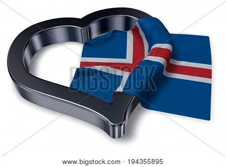 icelandic flag and heart symbol - 3d rendering