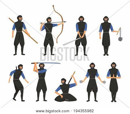 Ninja fighter black cloth character warrior japanese man cartoon warrior soldier person vector illustration and karate cartoon person action mask kick vector illustration. Traditional combat asia