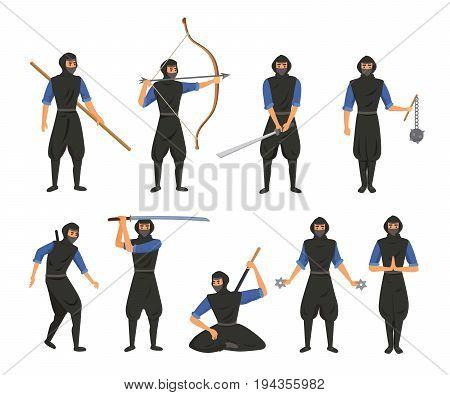 Ninja fighter black cloth character warrior japanese man cartoon warrior soldier person vector illustration and karate cartoon person action mask kick vector illustration. Traditional combat asia