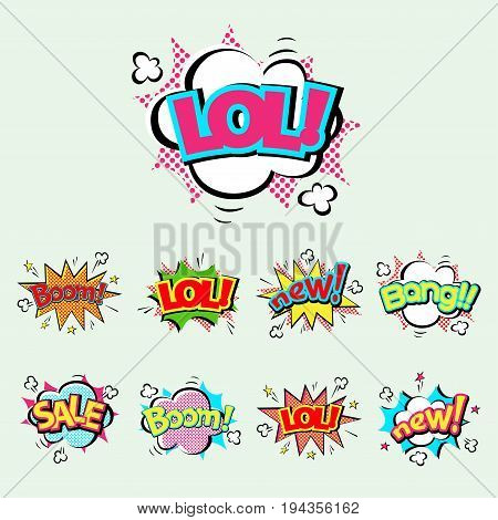 Pop art comic speech bubble boom effects vector explosion bang communication cloud fun humor illustration. book element abstract funny balloon.