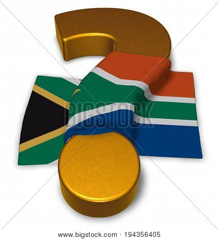 question mark and flag of south africa - 3d rendering