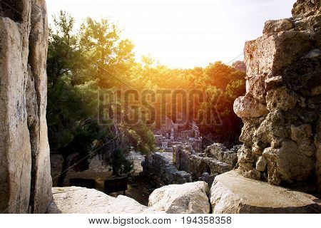 Old Ancient Ruins Of Phaselis