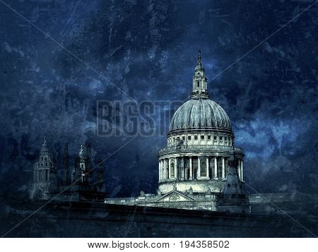 St Pauls cathedral dome in city of London,UK,