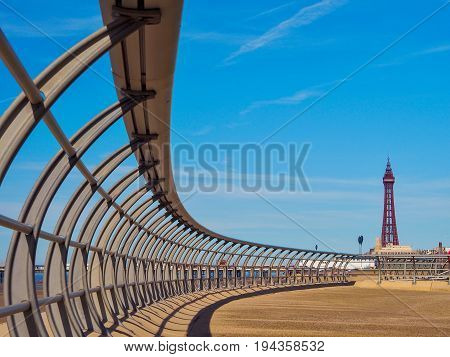 Blackpool Promenade and Tower with modern railing