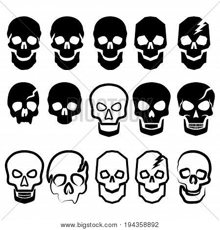 A set of black and white simple skulls. Fifteen various vector illustrations of skulls for the cutting of a plotter embossing engraving etc.