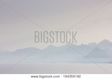 Idyllic Seascape View, Mountain And Sea