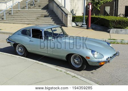 Fairhaven Massachusetts USA - July 4 2017: Jaguar E-Type (XK-E) coupe at Fairhaven Fourth of July Car Cruise